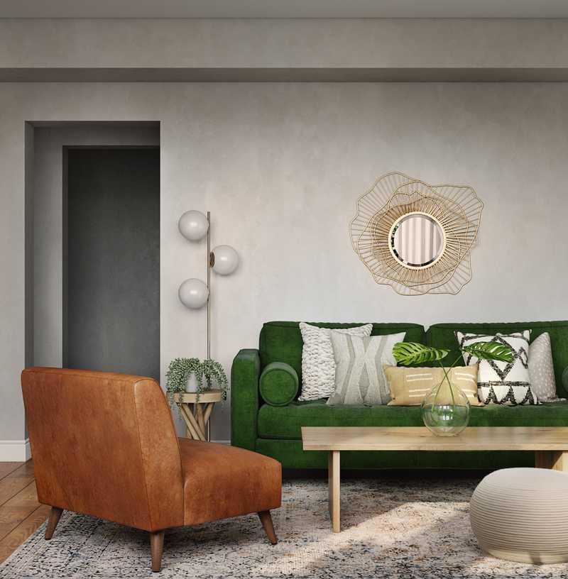 Bohemian, Midcentury Modern Living Room Design by Havenly Interior Designer Masooma