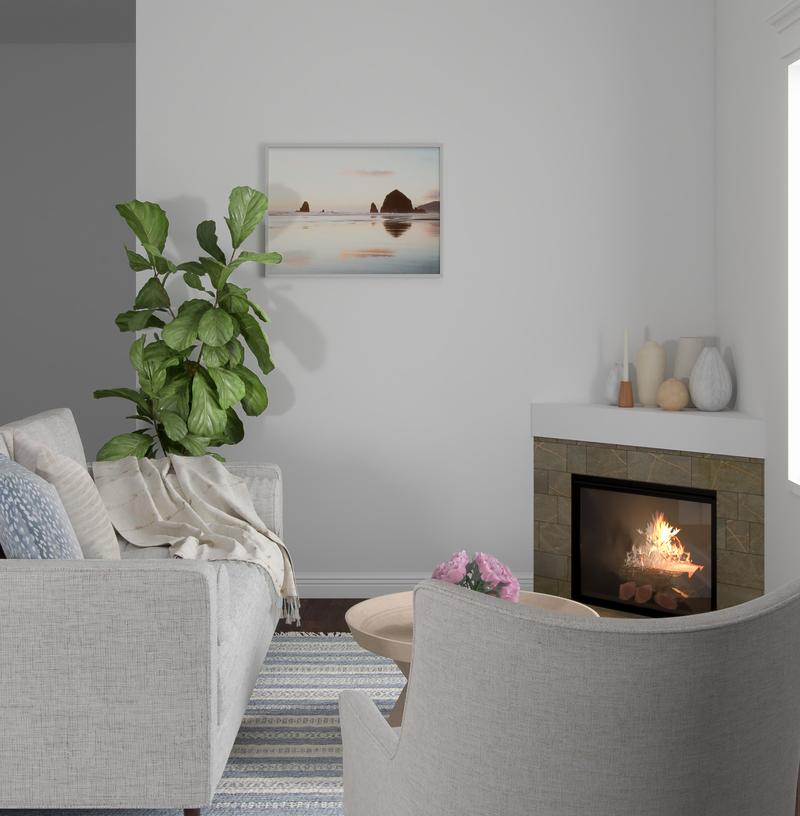 Contemporary, Coastal, Scandinavian Living Room Design by Havenly Interior Designer Shannon