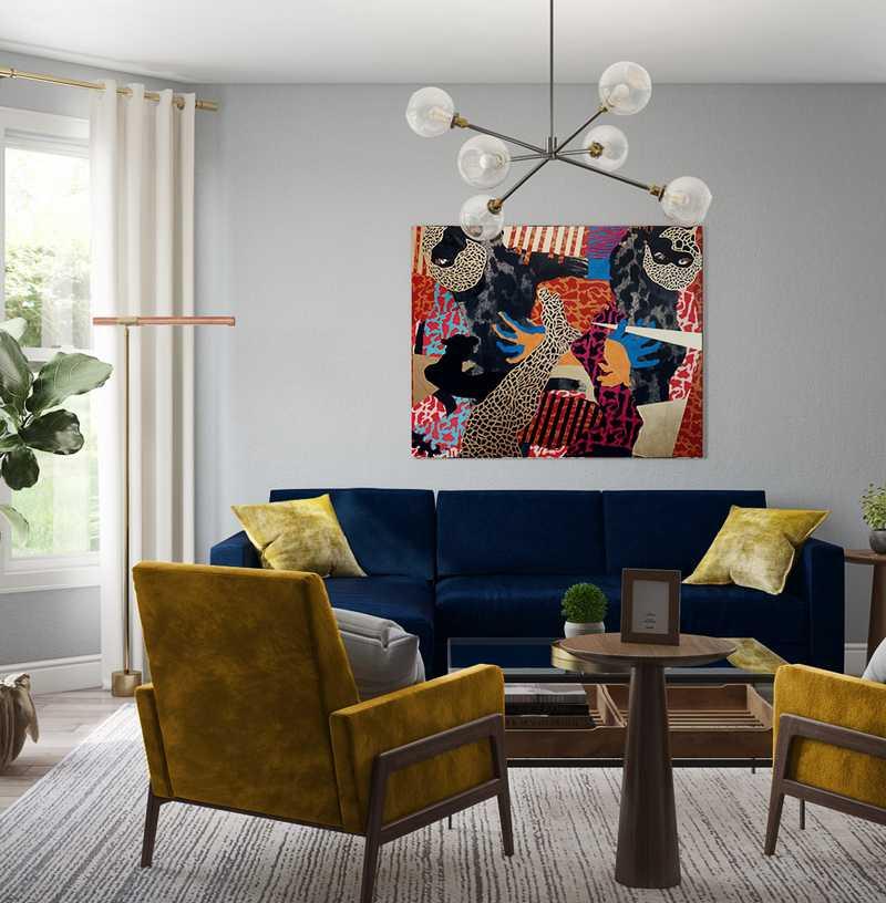 Midcentury Modern Living Room Design by Havenly Interior Designer Sofia
