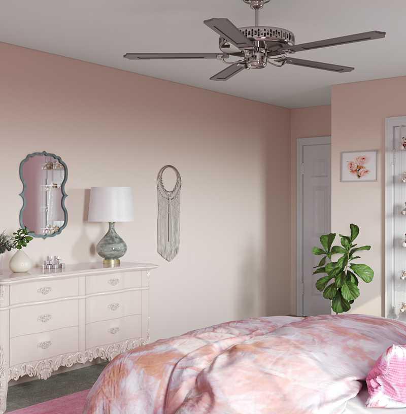 Bohemian, Glam, Preppy Bedroom Design by Havenly Interior Designer Samantha