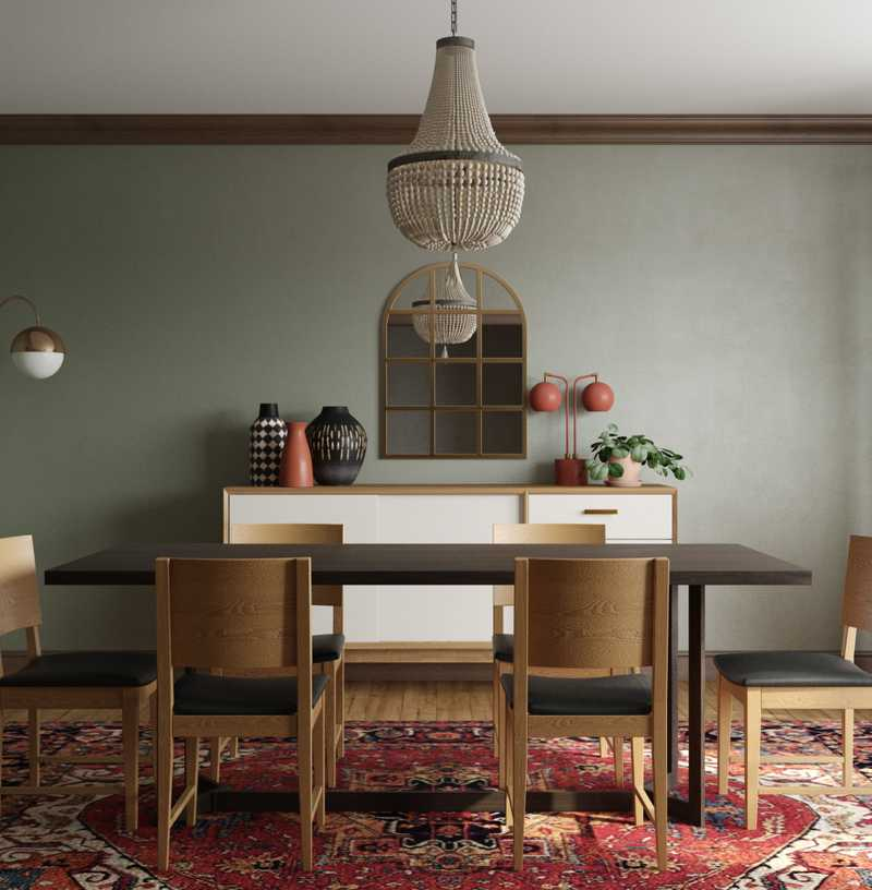 Eclectic, Bohemian, Midcentury Modern Dining Room Design by Havenly Interior Designer Ana