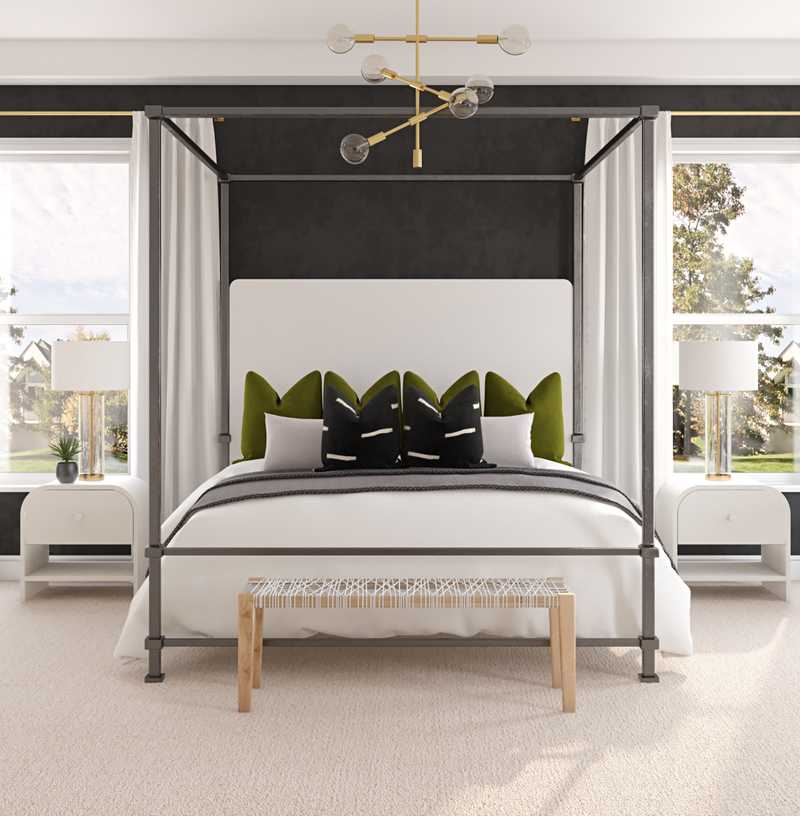Bohemian, Glam, Midcentury Modern, Scandinavian Bedroom Design by Havenly Interior Designer McKenzie