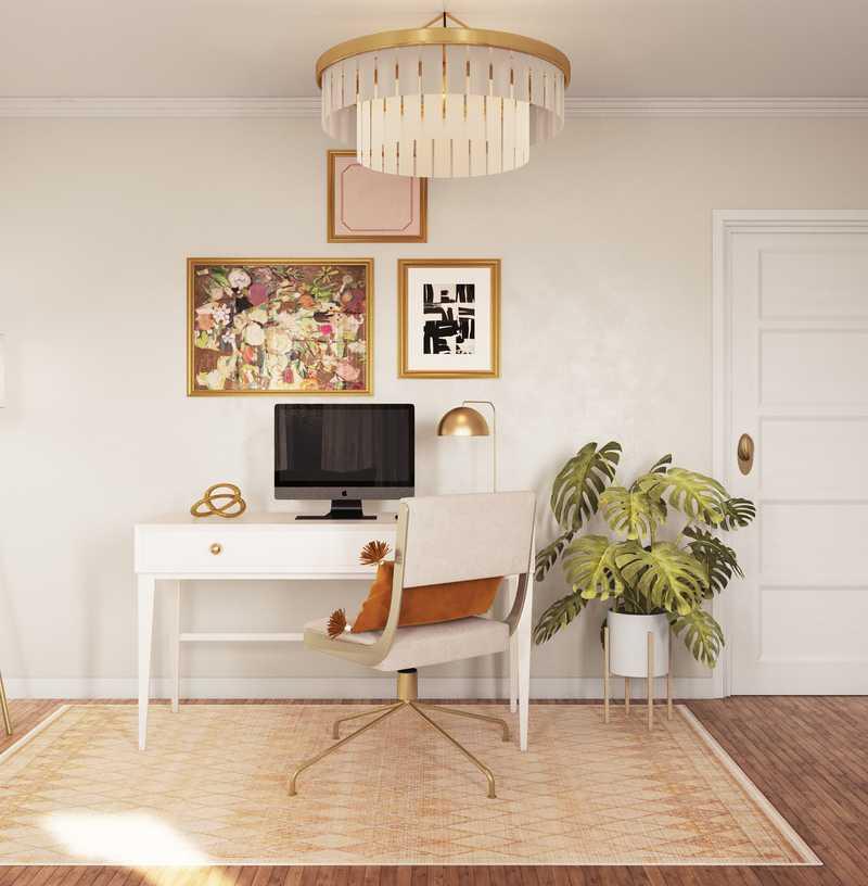 Modern, Eclectic, Glam, Vintage Office Design by Havenly Interior Designer Alex