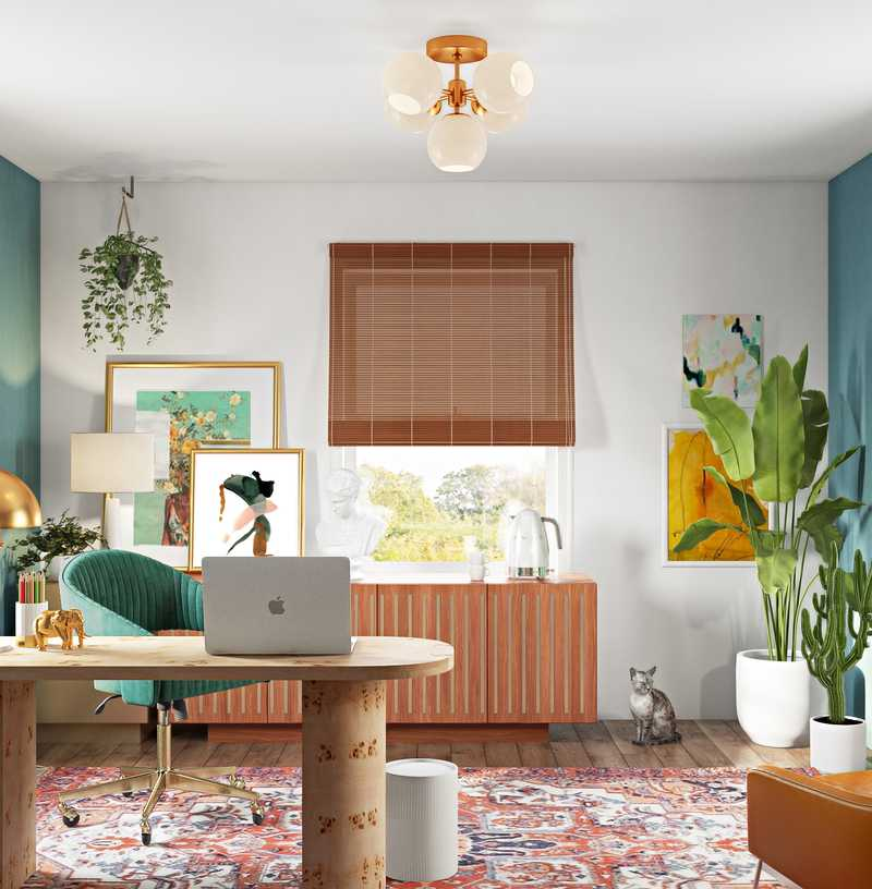 Contemporary, Modern, Eclectic, Bohemian Office Design by Havenly Interior Designer Nicolle