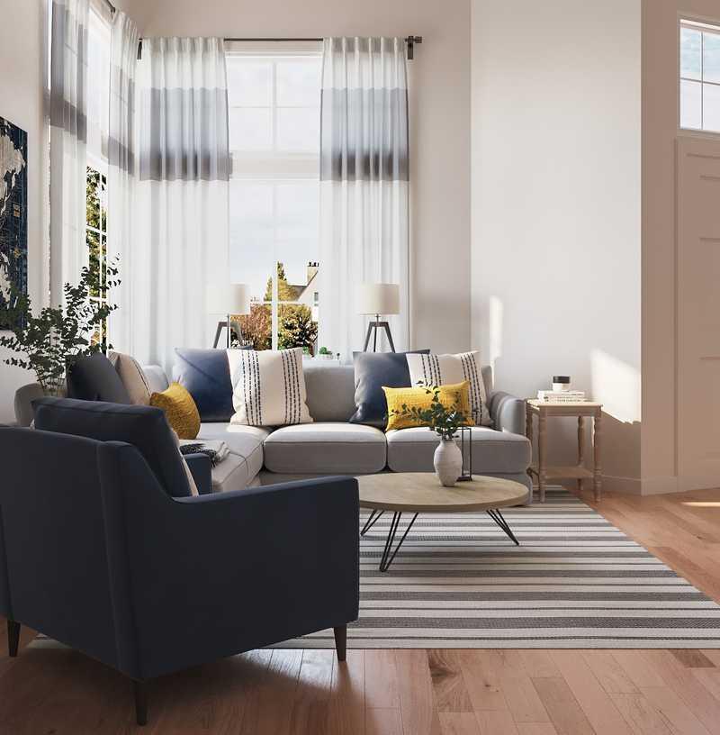 Farmhouse, Rustic, Transitional Living Room Design by Havenly Interior Designer Marlene