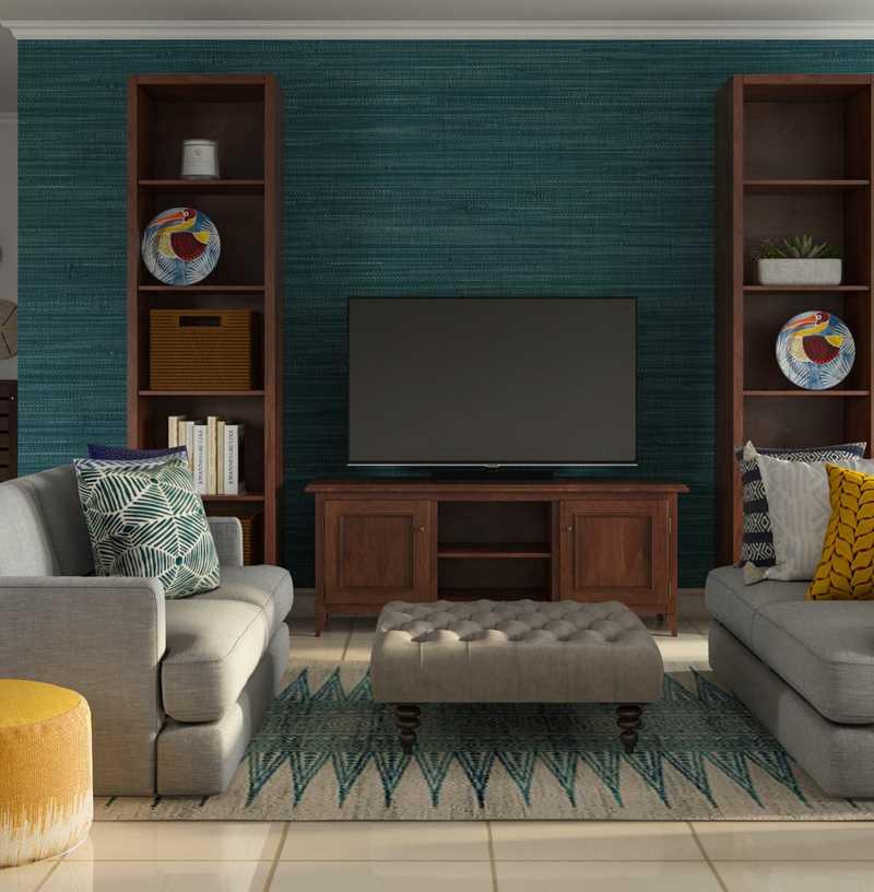 Bohemian, Coastal Living Room Design by Havenly Interior Designer Megan