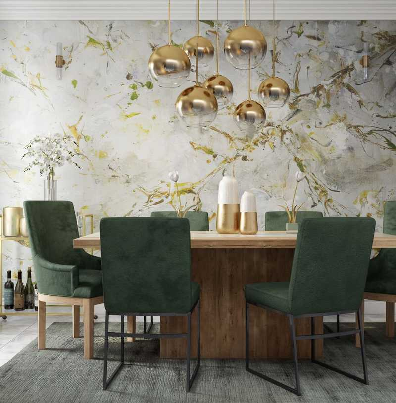 Contemporary, Glam, Midcentury Modern Dining Room Design by Havenly Interior Designer Heather