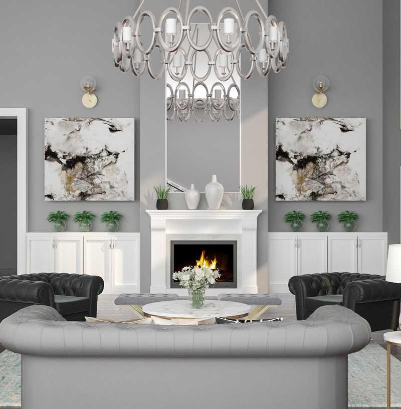Contemporary, Glam Living Room Design by Havenly Interior Designer Merna