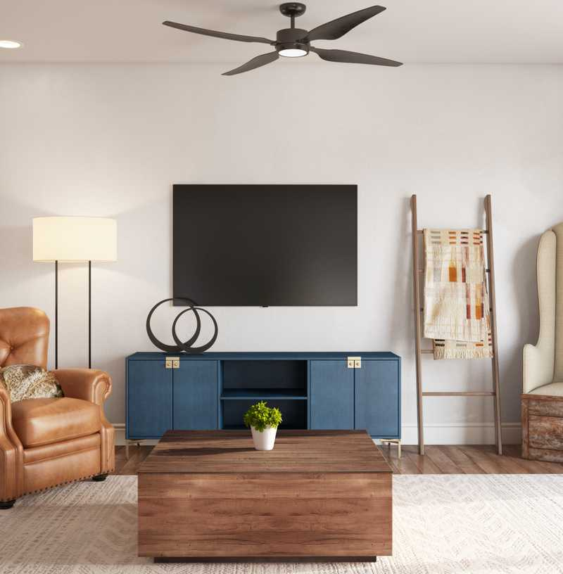 Contemporary, Eclectic, Rustic Living Room Design by Havenly Interior Designer Erin
