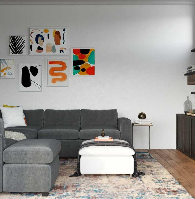 Contemporary, Midcentury Modern, Scandinavian Living Room Design by Havenly Interior Designer Raquel