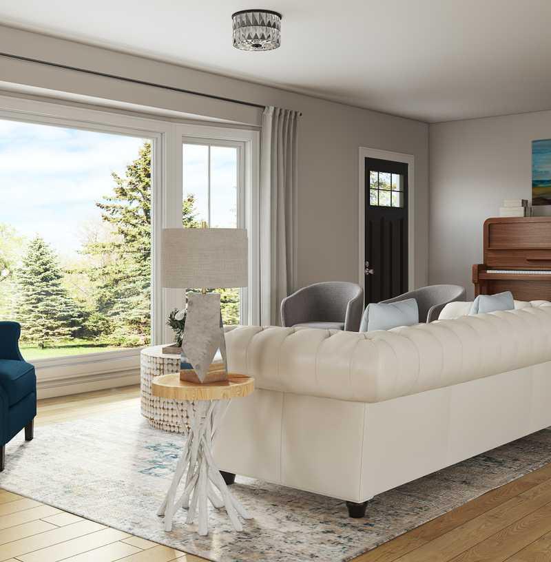 Coastal, Transitional Living Room Design by Havenly Interior Designer Julie