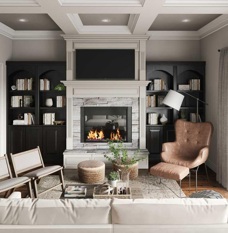 Farmhouse, Transitional Living Room Design by Havenly Interior Designer Katie