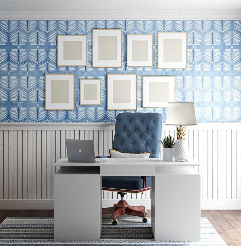 Coastal, Preppy Office Design by Havenly Interior Designer Elizabeth