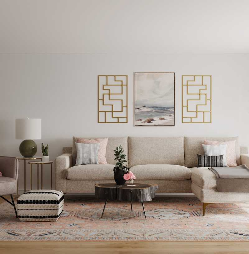 Modern, Bohemian, Transitional, Midcentury Modern Living Room Design by Havenly Interior Designer Kacey