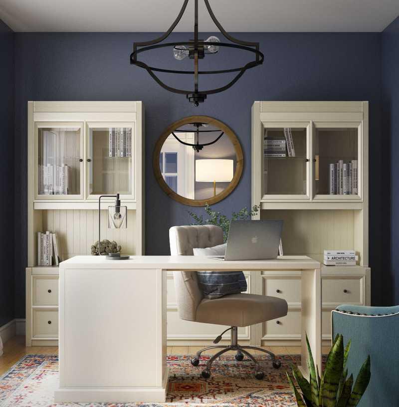 Coastal, Farmhouse, Midcentury Modern Office Design by Havenly Interior Designer Leslie