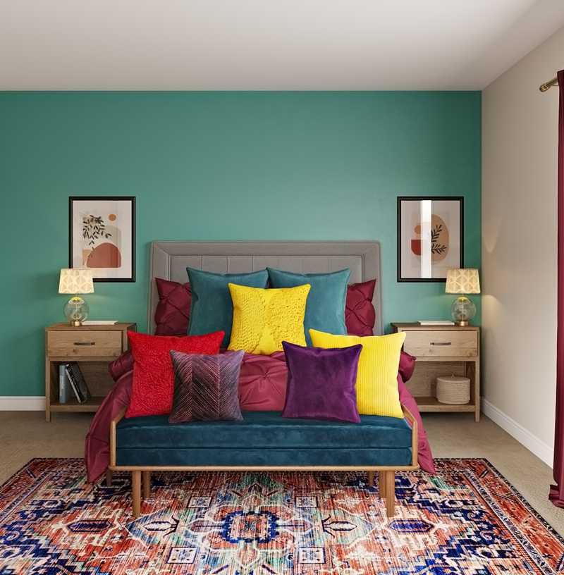 Glam, Midcentury Modern Bedroom Design by Havenly Interior Designer Randi