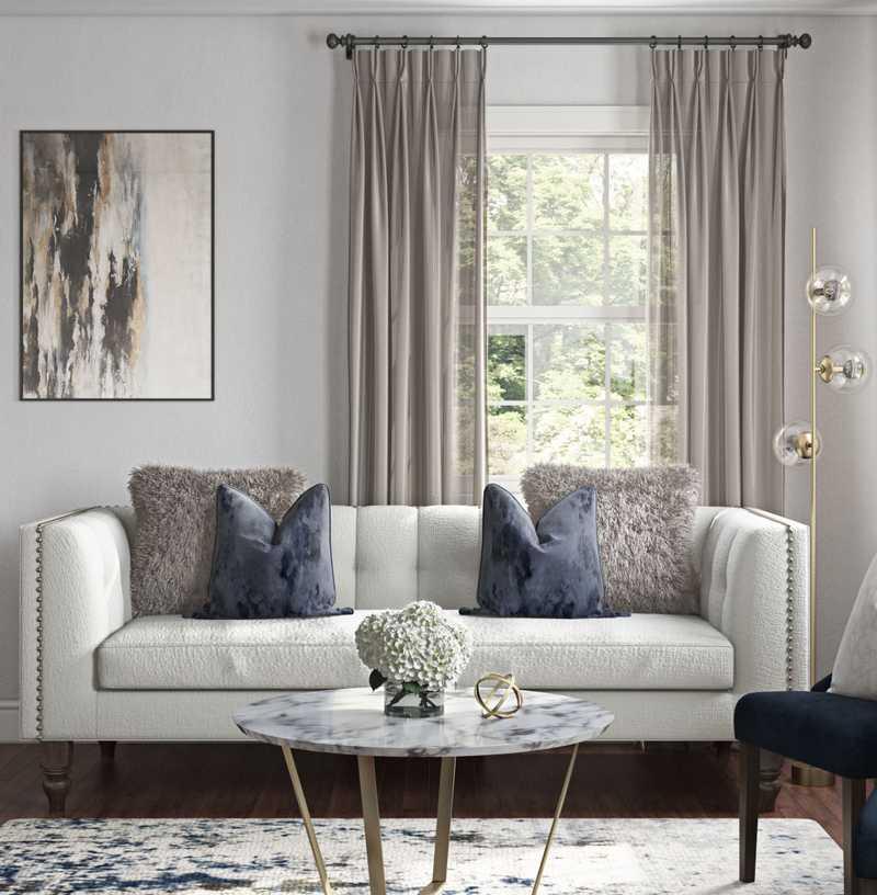 Glam, Transitional, Preppy Living Room Design by Havenly Interior Designer Elizabeth