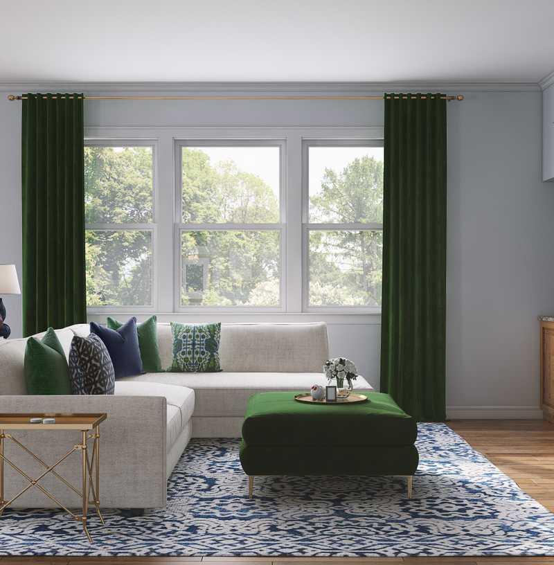 Classic, Preppy Living Room Design by Havenly Interior Designer Erin