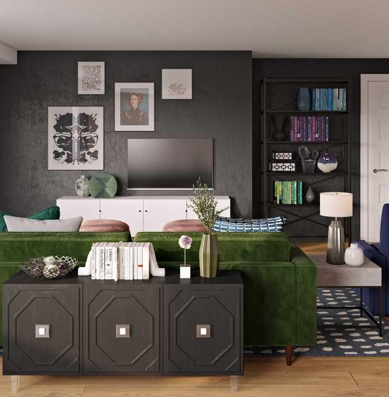 Coastal, Glam Living Room Design by Havenly Interior Designer Sam