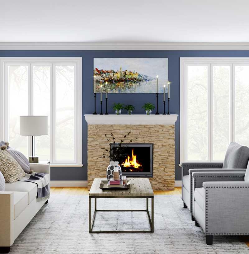 Classic, Farmhouse, Transitional Living Room Design by Havenly Interior Designer Lyndsi