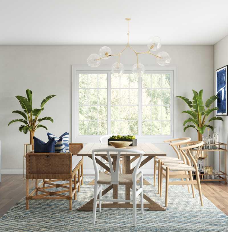 Bohemian, Coastal, Glam, Transitional Dining Room Design by Havenly Interior Designer Ghianella