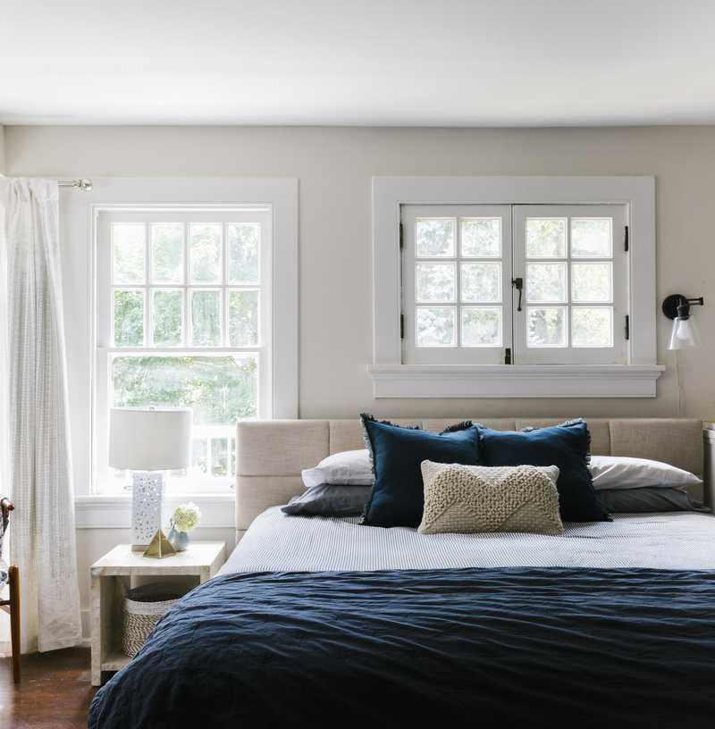 Modern, Coastal, Farmhouse Bedroom Design by Havenly Interior Designer Hailey