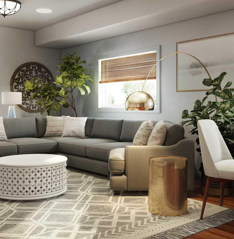 Modern, Glam, Midcentury Modern Living Room Design by Havenly Interior Designer Haley