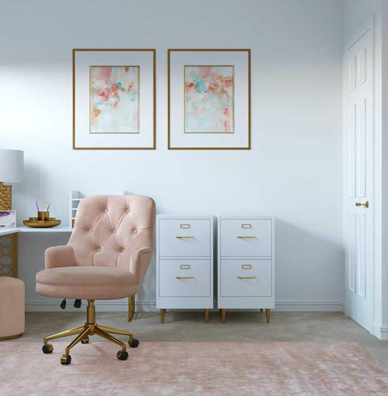 Glam, Preppy Office Design by Havenly Interior Designer Brianna
