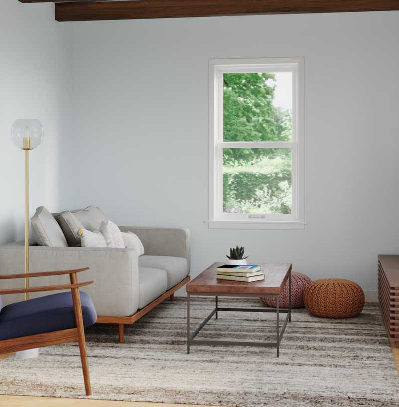 Modern, Bohemian, Coastal, Midcentury Modern, Scandinavian Living Room Design by Havenly Interior Designer Logan
