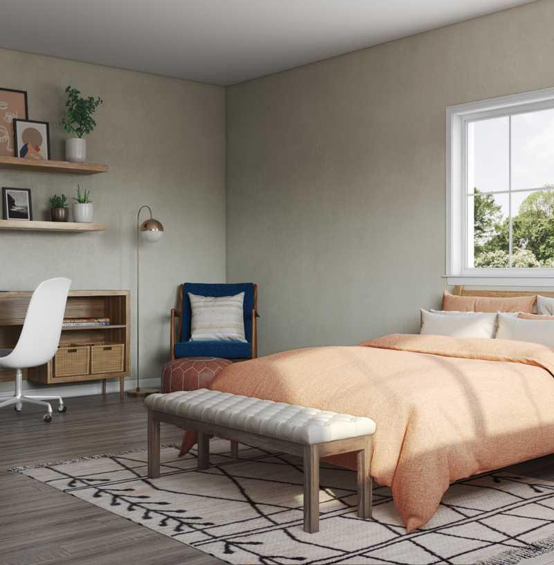 Bohemian, Midcentury Modern Bedroom Design by Havenly Interior Designer Erin