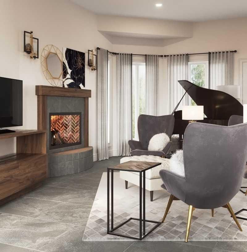 Glam, Transitional Living Room Design by Havenly Interior Designer Vaishali