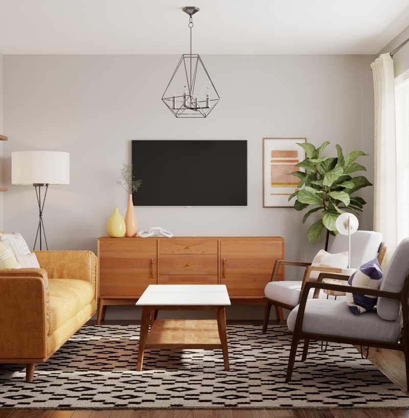 Bohemian, Midcentury Modern, Scandinavian Living Room Design by Havenly Interior Designer Katie
