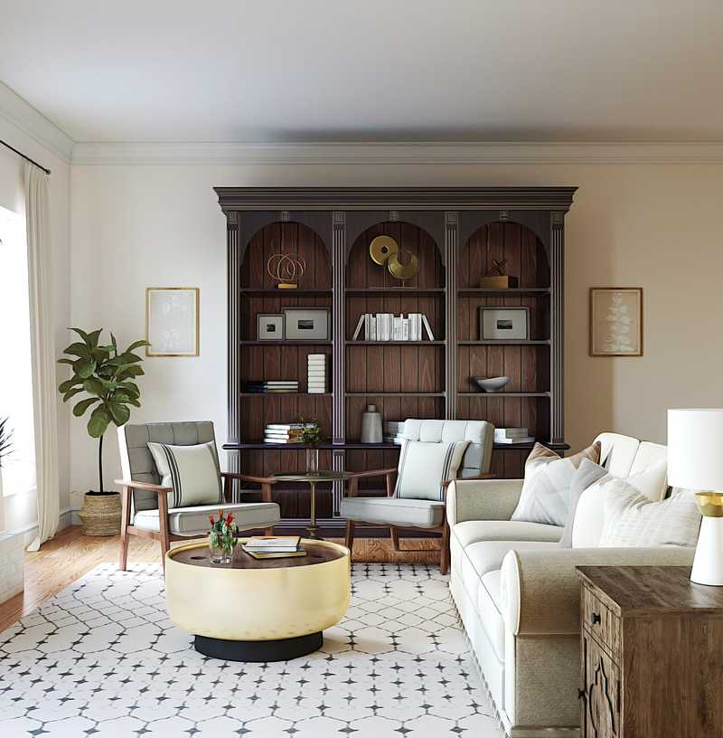 Modern, Glam, Farmhouse Living Room Design by Havenly Interior Designer Stephanie