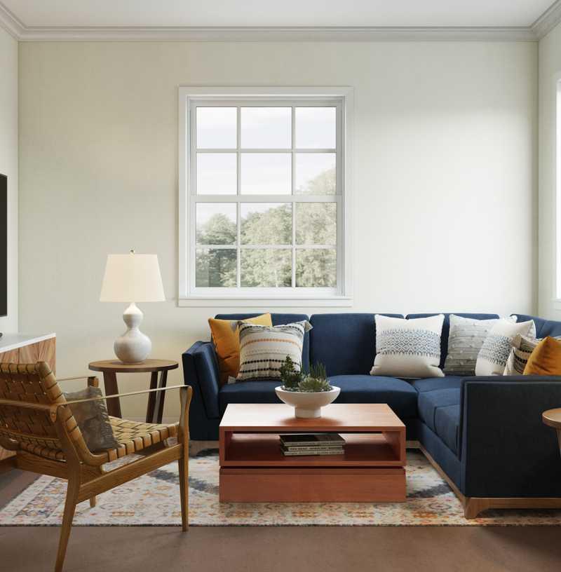 Industrial, Vintage, Midcentury Modern, Scandinavian Living Room Design by Havenly Interior Designer Natalie