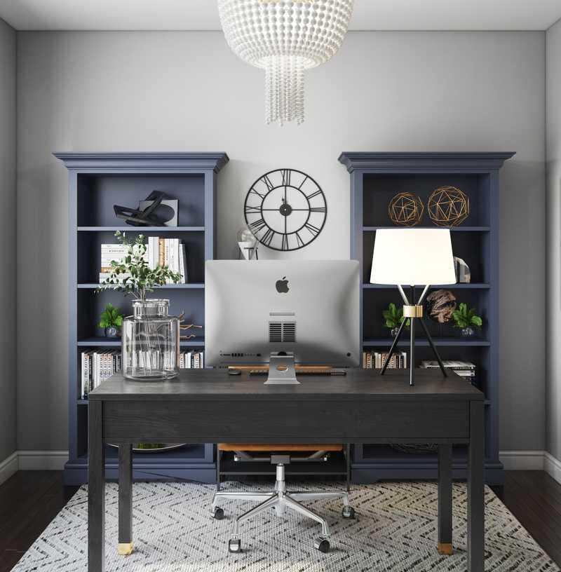 Modern, Industrial, Farmhouse, Global Office Design by Havenly Interior Designer Elyse