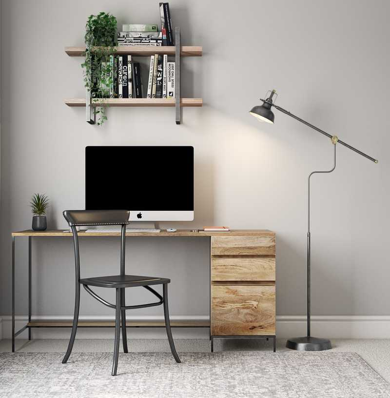 Modern, Bohemian, Rustic, Minimal Office Design by Havenly Interior Designer Madison