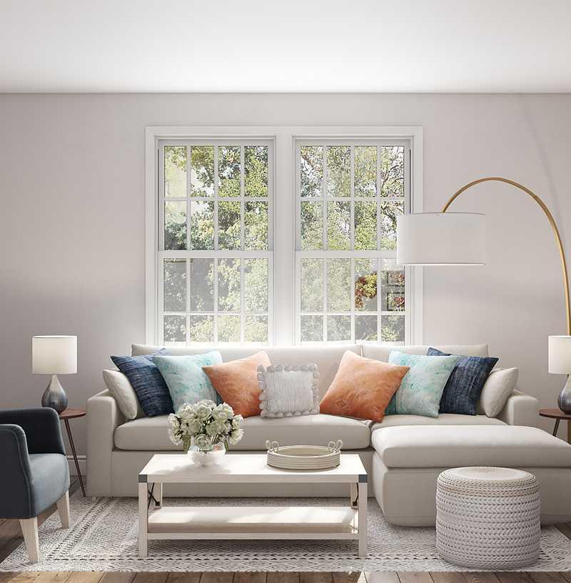 Coastal Living Room Design by Havenly Interior Designer Ghianella