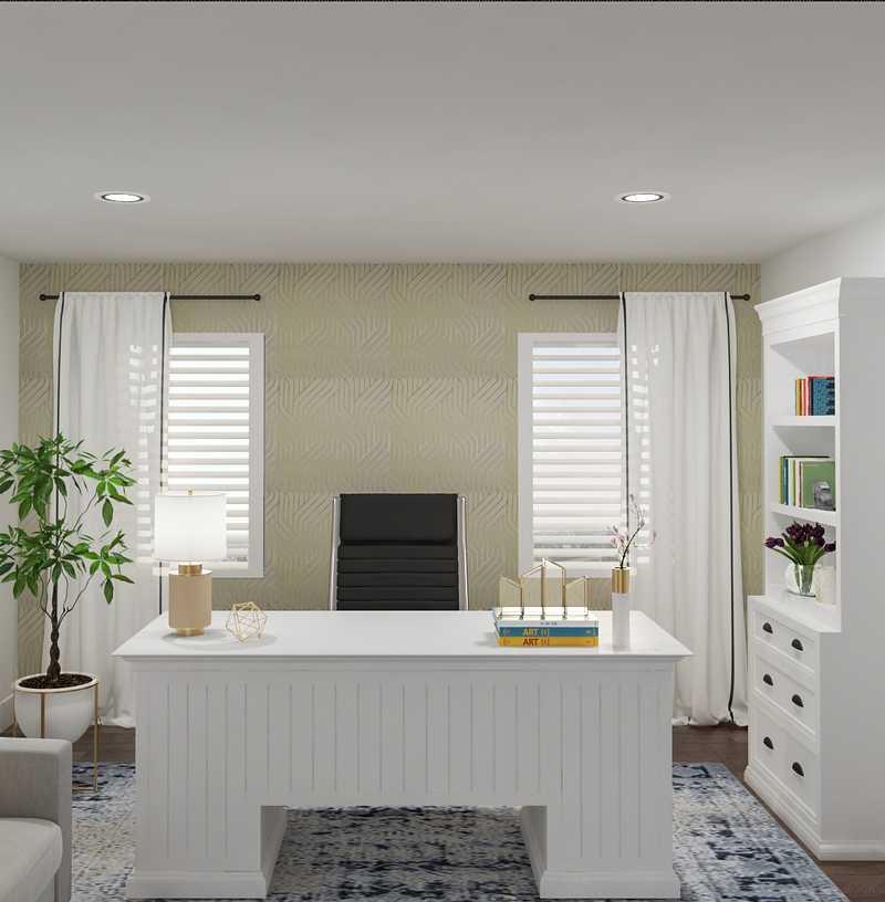 Glam, Midcentury Modern Office Design by Havenly Interior Designer Pooja