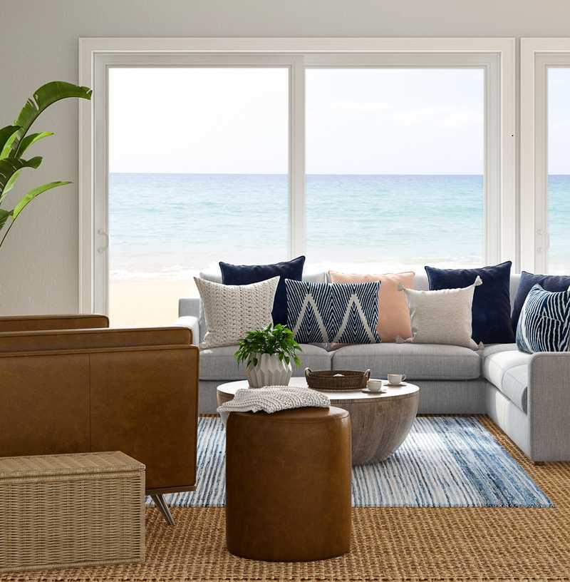 Modern, Bohemian, Coastal Living Room Design by Havenly Interior Designer Mayra