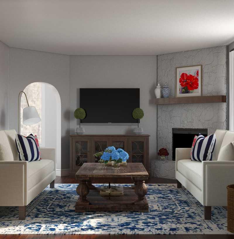 Classic, Coastal, Preppy Living Room Design by Havenly Interior Designer Libby