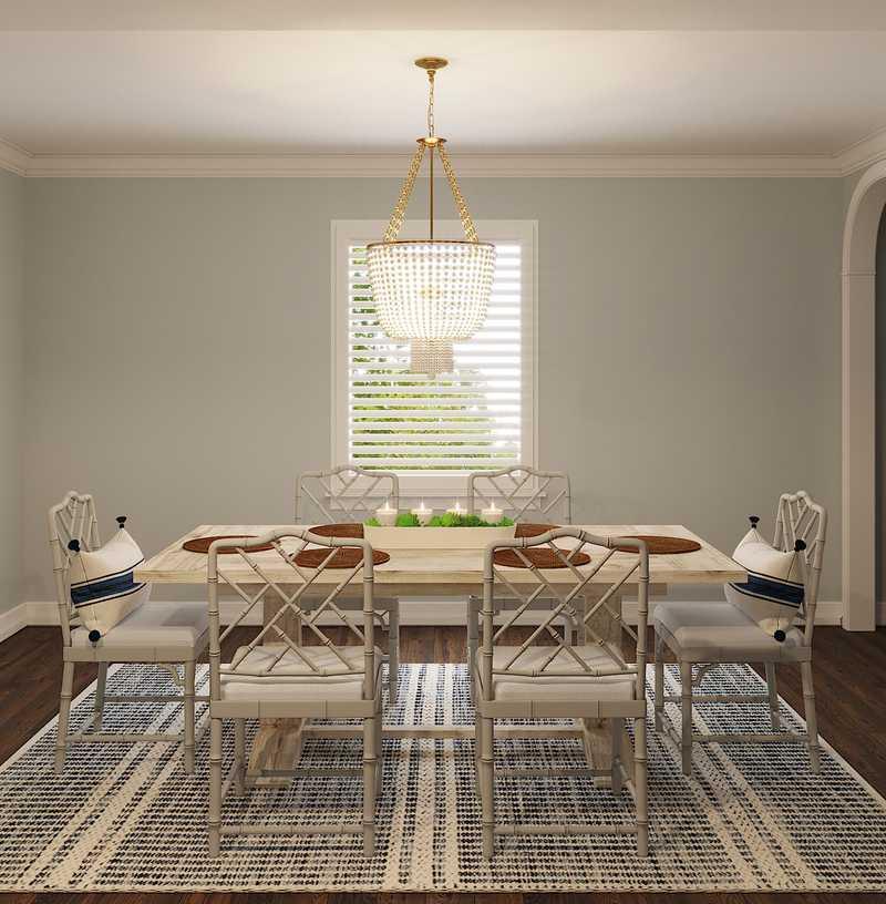 Coastal, Transitional Dining Room Design by Havenly Interior Designer Caroline