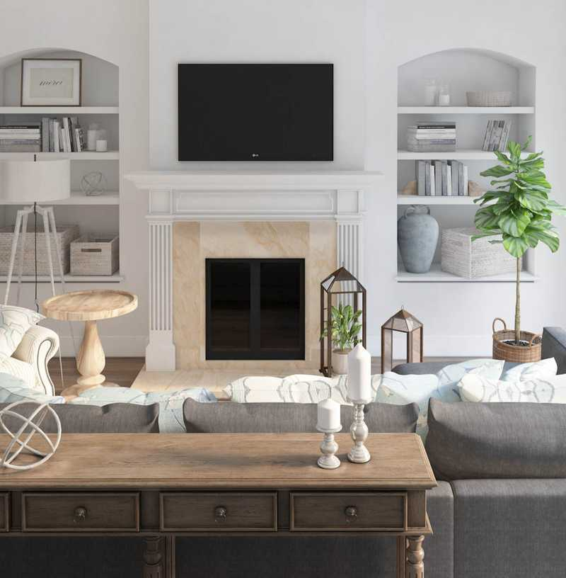 Contemporary, Classic, Glam, Traditional, Farmhouse, Transitional Living Room Design by Havenly Interior Designer Sara
