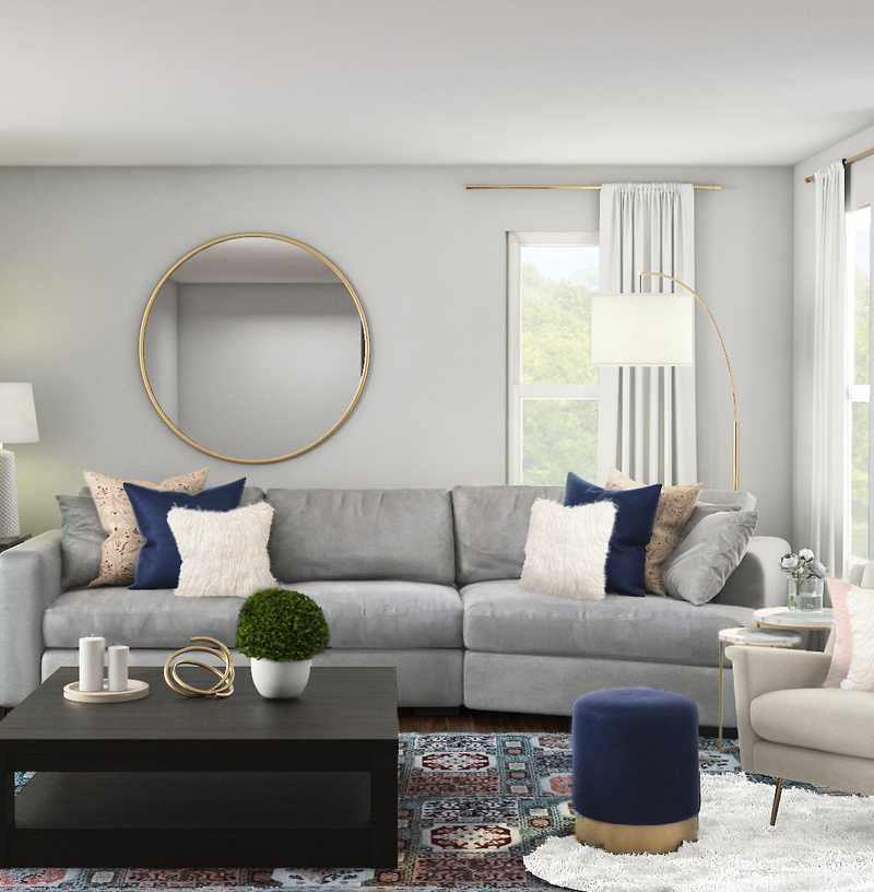 Classic, Glam, Transitional Living Room Design by Havenly Interior Designer Kaity