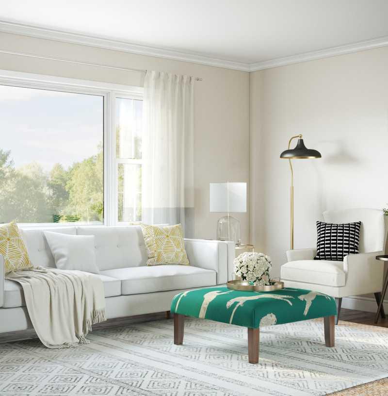 Coastal, Farmhouse Living Room Design by Havenly Interior Designer Natalie