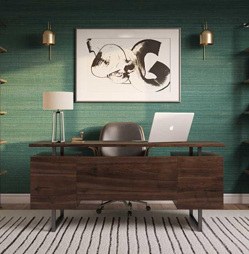 Bohemian, Glam, Midcentury Modern Office Design by Havenly Interior Designer Sarah