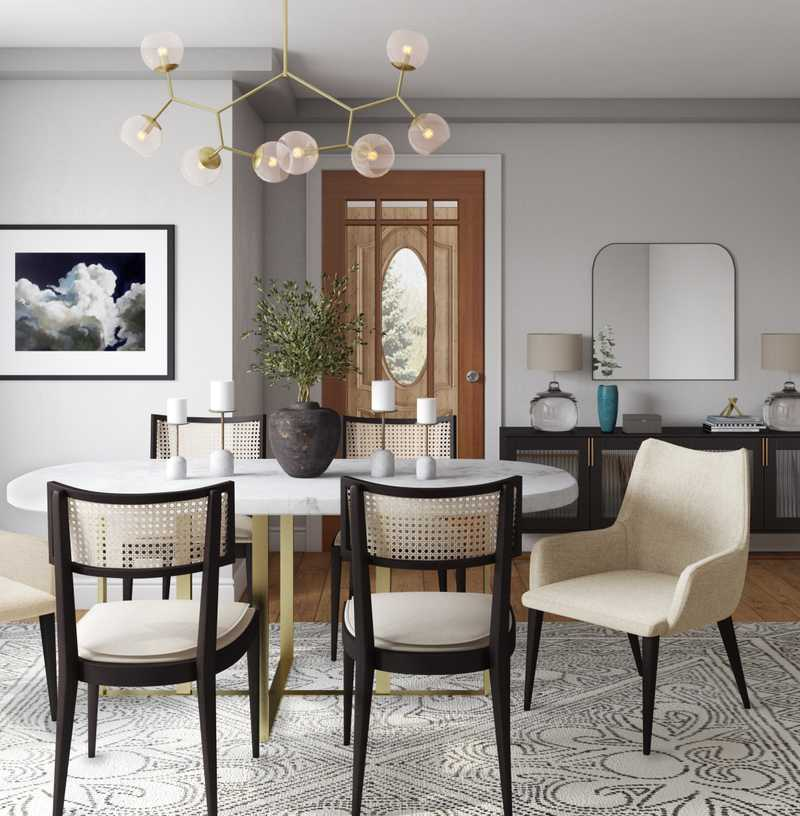 Eclectic, Bohemian, Midcentury Modern Dining Room Design by Havenly Interior Designer Ella