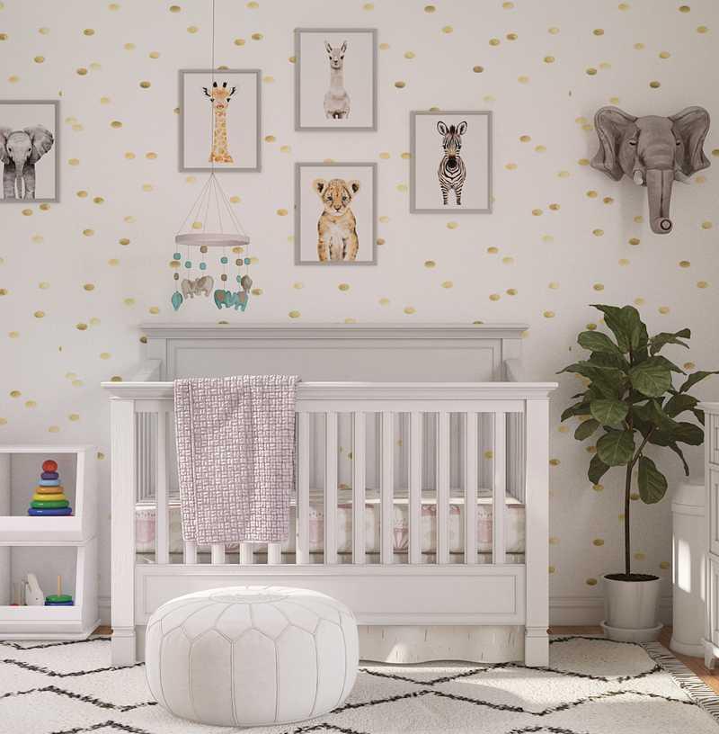 Bohemian, Minimal, Preppy Nursery Design by Havenly Interior Designer Samantha