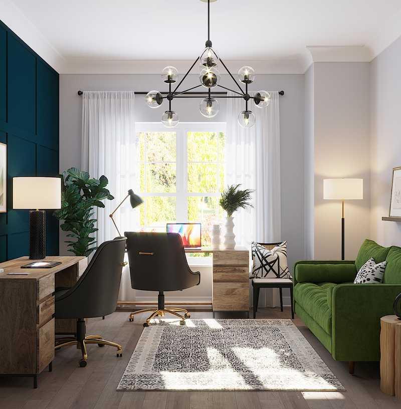 Modern, Industrial, Midcentury Modern Office Design by Havenly Interior Designer Dani
