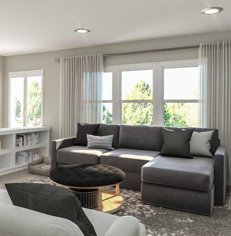 Farmhouse Living Room Design by Havenly Interior Designer Erin