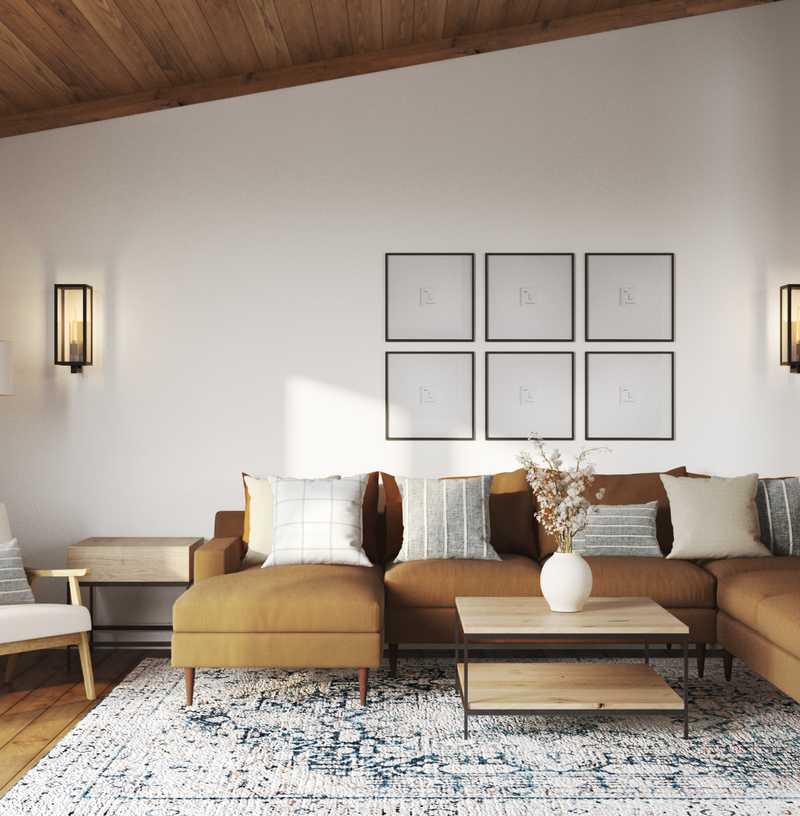 Bohemian, Farmhouse Living Room Design by Havenly Interior Designer Nicole